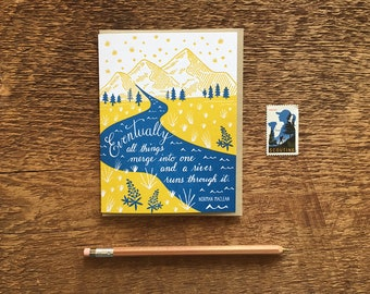A River Runs Through It, Norman Maclean, Mountain Card, Adventure Card, Letterpress Note Card, Blank Inside