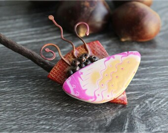 "Brooch ""Harp"" (polymer clay, copper, epoxy resin)"