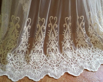 Lace Fabric - Ivory Cotton Embroidered Fabric Lace Vintage Wedding Bridal Mesh Fabric By The Yard
