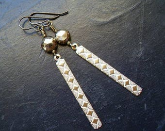 Genuine Pyrite Faceted Coin Bead Earrings Solid Brass Argyle Dangle Earrings Boho Gypsy Summer Festival Rustic Wedding Leo Zodiac Stone