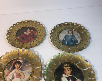 Vintage Solid Brass Butterfly Hanging Plates. Set of 4 Made in England Great Condition From the 1950's