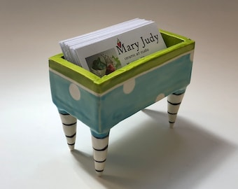 Business Card Holder pottery dish :) whimsical kiwi green, light turquoise with polka dots, black & white striped legs ceramics