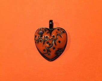 Puffy Orange Heart Pendant , Valentine