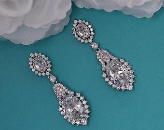 Dangle Bridal Earrings CZ Swarovski Crystal Zircon Zirconia Bride Wedding Jewelry Weddings Party Gift Prom Drop Accessory Accessories 048