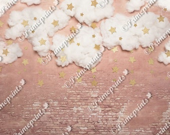 Clouds and Stars on Brick Wall Background