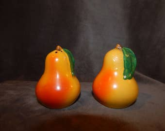 Vintage 1960's Pear Pepper & Shakers