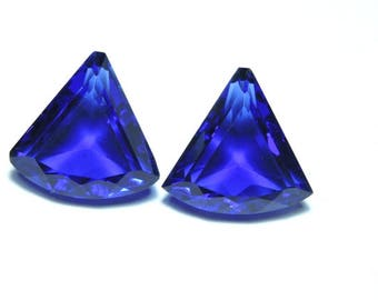 2 Pcs Very Beautiful Royal Blue Quartz Faceted Fancy Shaped Loose Gemstone Size 17X17 MM