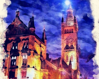 Glasgow University at Night Framed Art Picture Photo Print