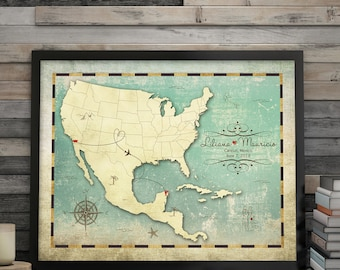 Wedding Guest Book Alternative, Unique Guest Book, Wedding Guest Books, Guest Book Canvas, Map Guest Book, Mexico Wedding Map, Maps by Angie