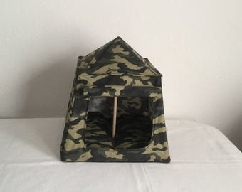 "Camouflage camping tent for 11-1/2"" figures"