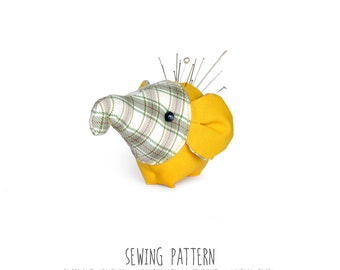 Elephant Sewing Pattern & Tutorial, Plush Toy Pattern, PDF INSTANT DOWNLOAD, Sewing Diy, Diy Pattern, Pincushion, Party favor, Lucky charm