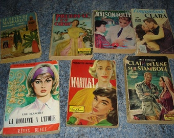 set of 7 books of love romance novels literature sentimental vintage very good condition