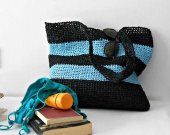 Crochet tote bag, Raffia shopping bag, block colors shoulder bag, light blue and black crochet beach bag, backpack gift for mom mother's day