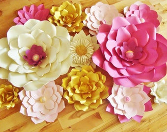Set of 12 Paper flowers - Paper flower wall | Paper Flower Backdrop | Paper Flowers for Nursery | Paper Flower Wedding | Paper Flowers