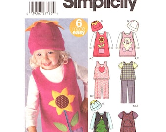 Girls Jumper Top Pants Hat Pattern Simplicity 5317 Applique Toddler Girls Sewing Pattern Size 1/2 1 2 3 4 UNCUT