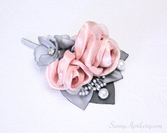 Rose Pink Blush Gray Boutonniere/ Handmade Wedding Accessory