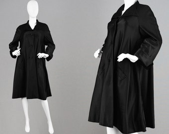 Vintage 50s HARDY AMIES COUTURE 1950s Swing Coat Silk Opera Coat Classic Black Oversized Coat Savile Row Jacket Black Satin Coat Evening
