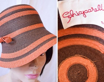Schiaparelli | RARE Vintage 1960s Hat Striped Orange and Brown Genuine Milan Brimmed Hat Chapeau Topper Designer Sun Hat Mint Condition