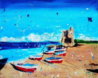 Marine; Original seascape painting; boats painting