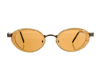 90s MOSCHINO LUXE GOLD Mother of Pearl Resin Metallic Round / Oval Vintage Designer Sunglasses