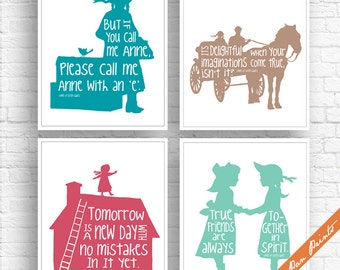 Anne of Green Gables Inspired - Set of 4 Art Print (Unframed) (Featured in Ocean, Latte, Rouge and Sea Foam) Peter Pan Prints