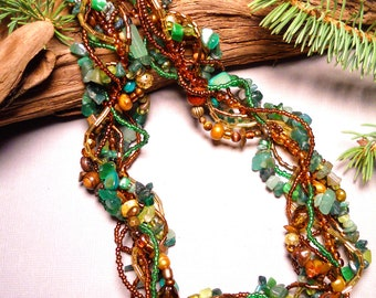 May birthstone, Multi strand necklace, statement necklace, emerald gemstone, woodsy, real emerald, Elven, twisted, freeform: Emerald Forest