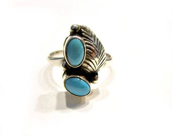 Vintage Sleeping Beauty Turquoise Ring Sterling Size 6 Vintage Southwestern Gift for Her Under 50 Native American Ring