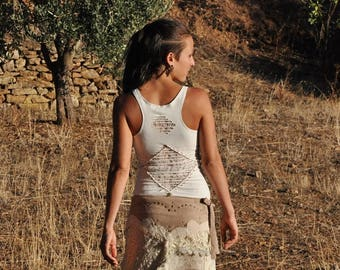 GAÏA Racerback, Cut-Out Top ~ with Lace and Brass Beads ~ white M,L