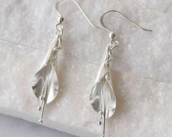 Sterling Silver Long Calla Lily Earrings