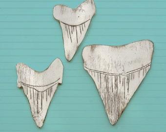 Shark Teeth Wooden Great White Shark Tooth Wall Art Beach Sign