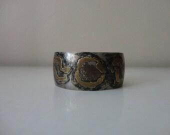 VINTAGE lascaux silver and brass CUFF BRACELET