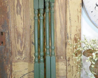 Set of 4, Green Wood Spindles, Architectural Salvage Balusters, Primitive Rustic Farmhouse Decor, DIY Project Farm Table Legs