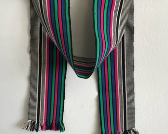 Vintage Skinny Scarf / 80s 1980s eighties / Guitar Camera Strap Style / Motorcycle / Wrap / Neck Scarves / Green White Pink Black Stripes /