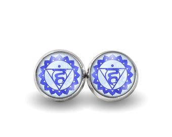 Throat Chakra Stud Earrings | Chakra Earrings Boho Earrings Chakra Jewelry Yoga Earrings Meditation Earrings Vishuddha Chakra Blue Earrings