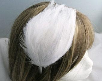 Pure White wedding feather fascinator - CHOOSE comb, headband or alligator clip