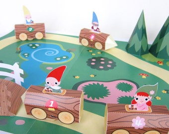 Gnome Log Race Car Playset Printable Paper Craft PDF