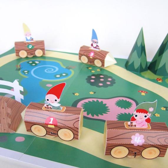 Gnome Log Race Car Playset Printable Paper Craft Pdf