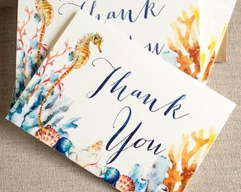 seahorse thank you notes - watercolor thank you card set - wedding thanks