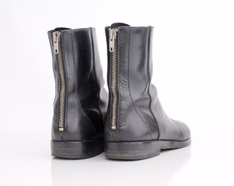 size 7 | vintage black leather boots | Joan and David leather ankle boots | back zipper boots | 37.5