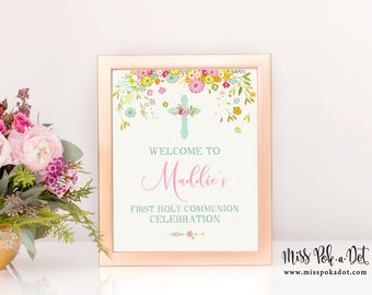 First Holy Communion Welcome Sign, Printable, Religious Sign, Cross, Baptism, Girl, Customized, Digital file, Celebration, Reception, Party
