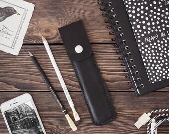 Leather Pencil Case. Handmade Black leather pencase. Black color.