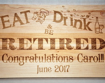 Retirement Cutting Board, Custom Engraved - 16x10 - Retirement Gift, Anniversary Gift, Housewarming Gift Wedding Invitation Engraved