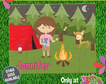Girl Camping Puzzle - Personalized 8 x 10 Puzzle - Personalized Name Puzzle - Personalized Children Puzzle - Personalized Camping Puzzle