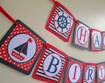 Nautical Banner, Nautical Birthday Banner, Nautical Party Decorations, Nautical Decor, Nautical Bunting, Nautical Baby Shower, Party Banner