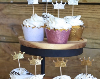Glitter Crown Cupcake Toppers, crowns in gold or silver