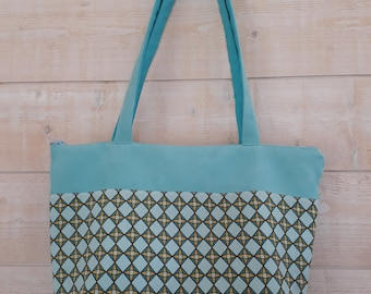 Turquoise blue suede purse