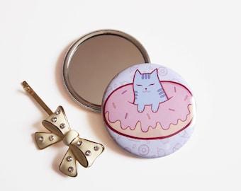 Compact Mirror, Cat Donut, doughnut cats, small makeup mirror, pocket mirror, handheld mirror, handbag mirror, travel mirror, purse mirror