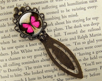 Butterfly Bookmark, Pink, Vintage Style, Victorian, Bronze Bookmark, Book Lover, Book Accessories, Clip Bookmark, Book Gift, Small Gift