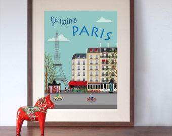 Je t'aime Paris - Paris Street Scene Art Print