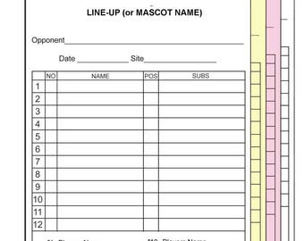 Baseball Softball Line-Up Cards w/Team Roster (names) Customized - 4 part-30 Sets